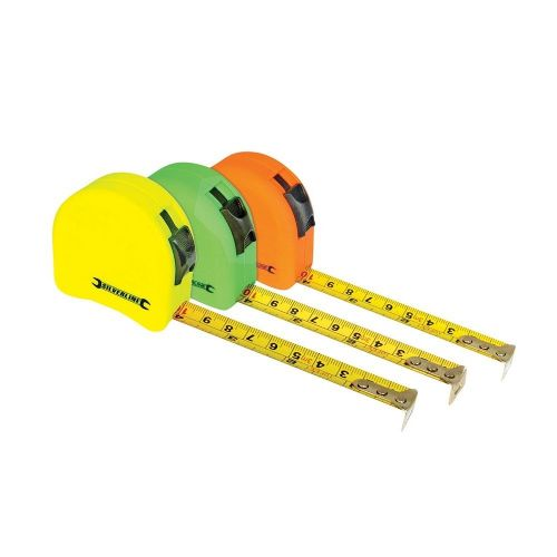 Silverline MT03 Hi Vis Contour Tape Measure Metric & Imperial 3m / 10ft x 16mm